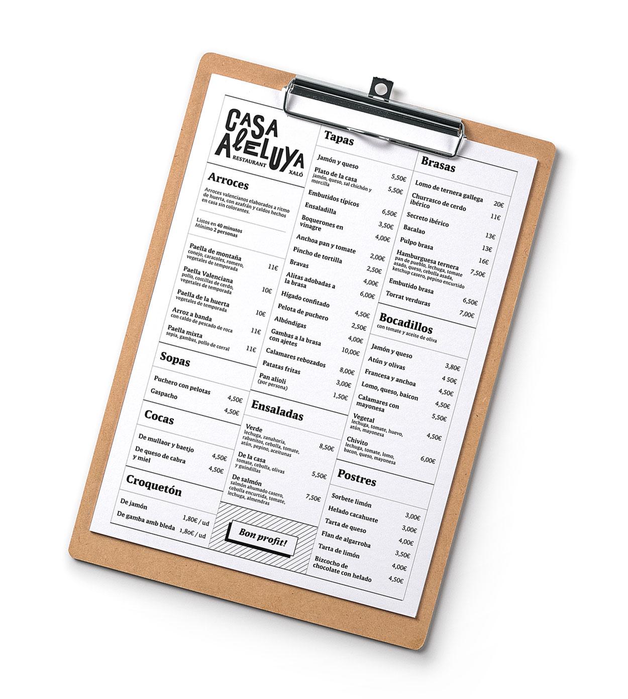 Diseño Carta Restaurante Casa Aleluya