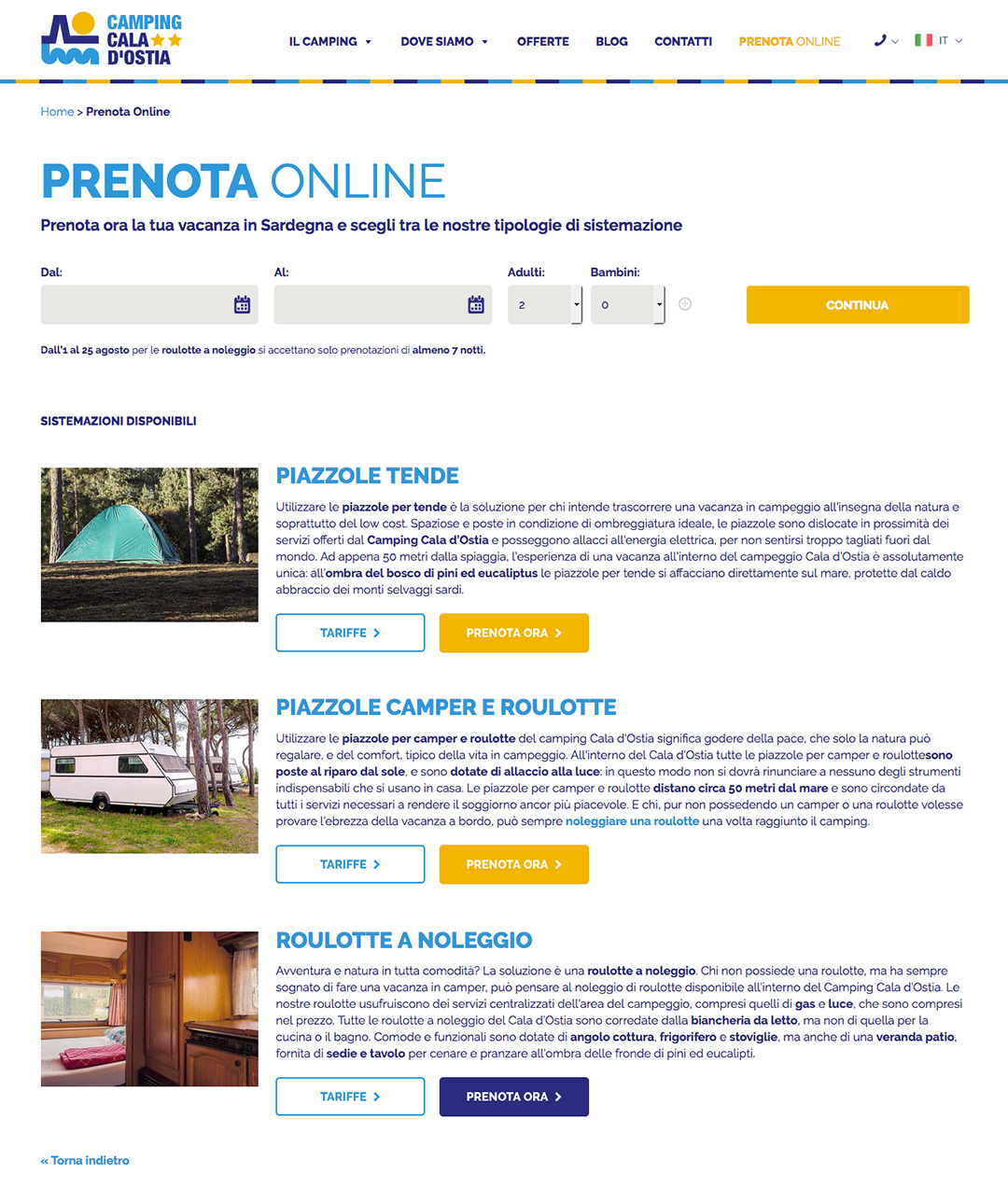Booking engine Camping Cala d'Ostia